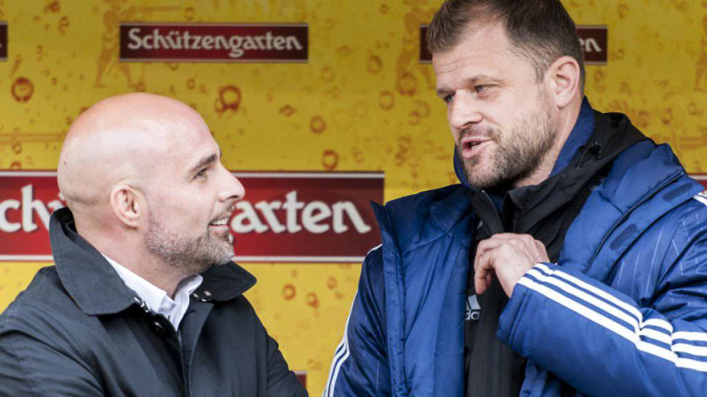 Machtwechsel: Trainer Giorgio Contini (links) musste seinen Spind beim FC Vaduz räumen - sein Assistent Daniel Hasler coacht das Team bis Saisonende