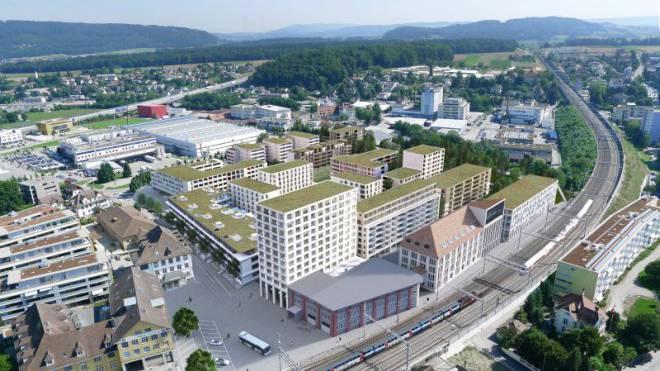 So könnte der neue Standort des Joint Venture aussehen: Das Quartier «Im Lenz» am Bahnhof Lenzburg. Visualisierung: Losinger Marazzi