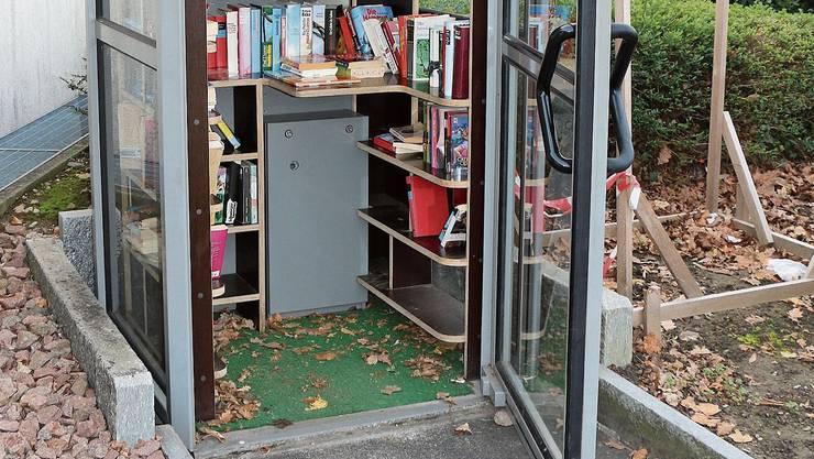 Seit April 2018 in Betrieb: die Bücherbox bei der Steiner Poststelle. (Bild: Dennis Kalt)
