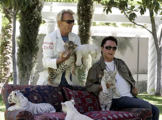 Siegfried und Roy mit weissen Tigern – Aufnahme von 2008
