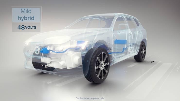 Ein 48-Volt-Mildhybrid-System ist künftig der Einstieg bei Volvo. Der E-Motor mit kleiner Batterie, die nur während der Fahrt geladen werden kann, bietet sanfte Unterstützung.