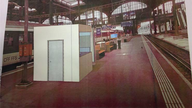 So stellen sich die SBB den Stand im Basler Bahnhof vor.