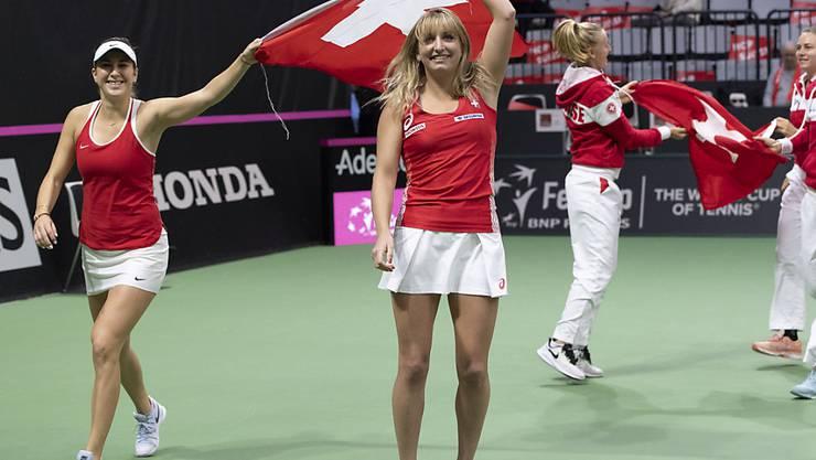 Ohne Belinda Bencic (li.), mit Timea Bacsinszky: Das Schweizer Fed-Cup-Team muss nächste Woche ersatzgeschwächt in die USA reisen