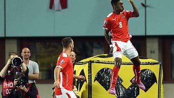 David Alaba jubelt nach seinem Penalty-Führungstor gegen Schweden.