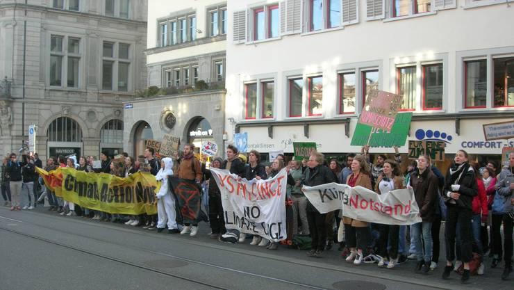 Junge Demonstranten forderten am Montagmorgen die Ausrufung des Klimanotstands vom Zürcher Kantonsrat.