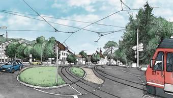 So sieht die Visualisierung des Projektes aus. Vorgesehen ist ein Mischverkehr auf der Baselstrasse.