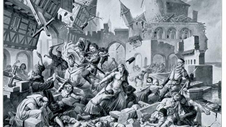 Das Bild Karl Jauslins (Ende 19. Jahrhundert) zeigt das verheerende Erdbeben Basels 1356.  zvg