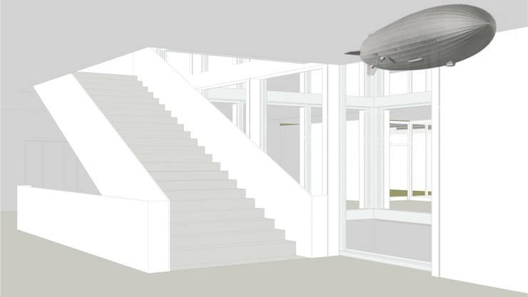 Künstler Boris Rebetez möchte das neue Schulhaus in Allschwil mit sieben Objekten wie etwa einem Zeppelin schmücken. Sein Projekt «Leichter als Luft» hat die entsprechende Ausschreibung gewonnen.