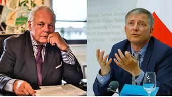 Links: Will klagen: Klaus-Dieter Matschke, deutscher Sicherheitsberater. Rechts: Mit Klage bedroht: Markus Seiler, Schweizer Geheimdienstchef.