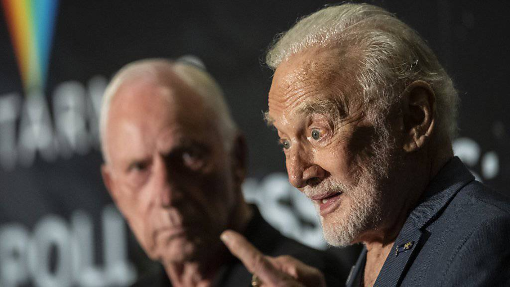 Buzz Aldrin erinnert sich an einem Medienanlass zum Auftakt des Starmus_Festival an seine Erlebnisse während der Apollo 11-Mission.