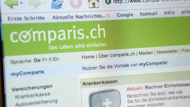 Screenshot der Website des Vergleichsdienstes comparis.ch