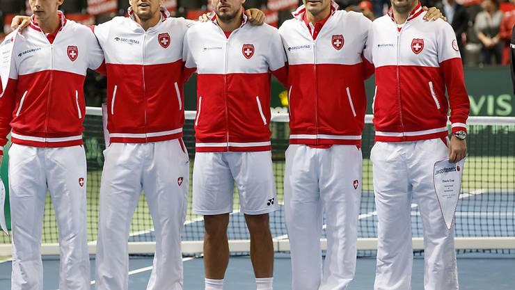 Das Schweizer Davis-Cup-Team trifft 2017 in der 1. Runde auswärts auf die USA