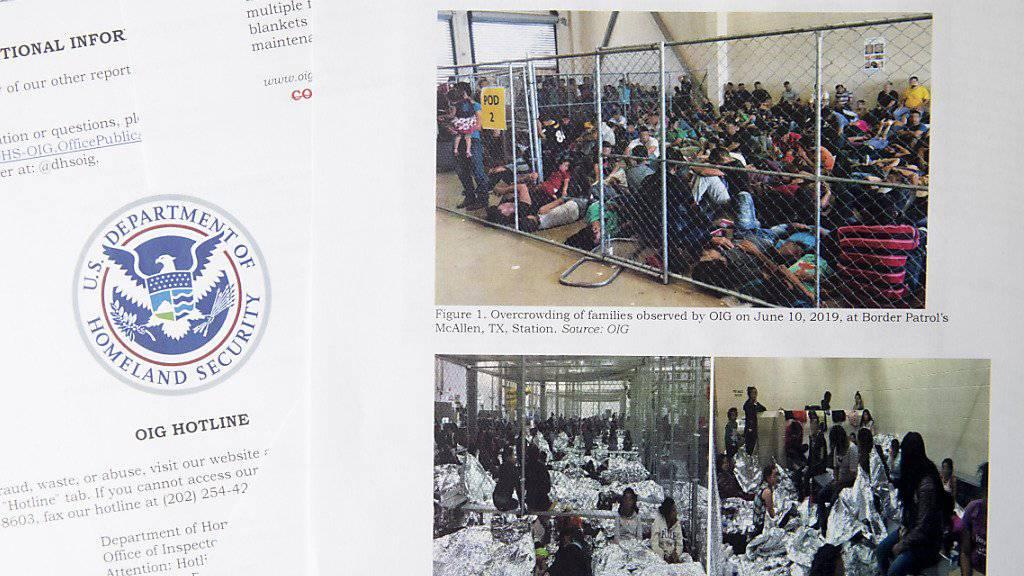 Der Bericht der Aufsichtsbehörde des US-Ministeriums für Innere Sicherheit enthält Fotos, die völlig überfüllte Zellen mit Migranten zeigten.