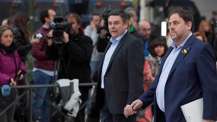 Oriol Junqueras, der ehemalige Stellvertreter des abgesetzten Regionalpräsidenten Carles Puigdemont, wurde am Freitag als erster vom Gericht in Madrid angehört. (Archiv)
