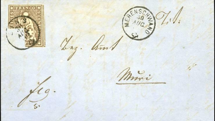 Der Brief an Ignaz Wüst mit der beschädigten Briefmarke. zvg
