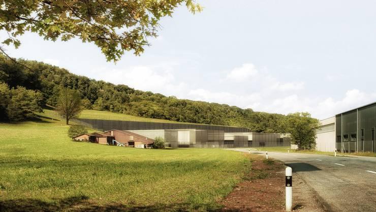 Hinter einem Bauernhof und zum Teil in den Hang gebaut: So würde die Oberflächenanlage für das Tiefenlager in Villigen aussehen. Nagra