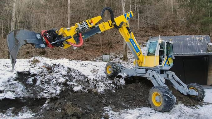 Der Schreitbagger arbeitete im Winter führerlos in der Gefahrenzone von Mitholz.