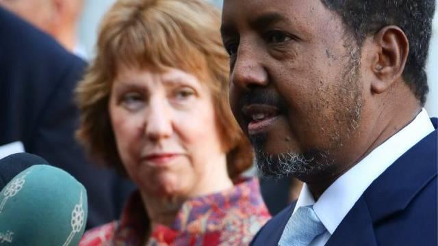 Präsident Hassan Sheikh Mohamud mit Catherine Ashton