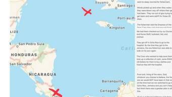 Die im Meer ohne Benzin auf einem Schiff umhertreibenden Fischer aus Costa Rica wurden nach drei Wochen zwischen Kuba und Jamaika aufgegriffen.