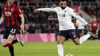 In der Premier League nicht zu stoppen: Mohamed Salah erzielt Liverpools dritten Treffer gegen Bournemouth