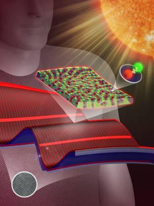 Die Sonnenstrahlen werden auf dem Kunststoff der Jacke in Strom umgewandelt.