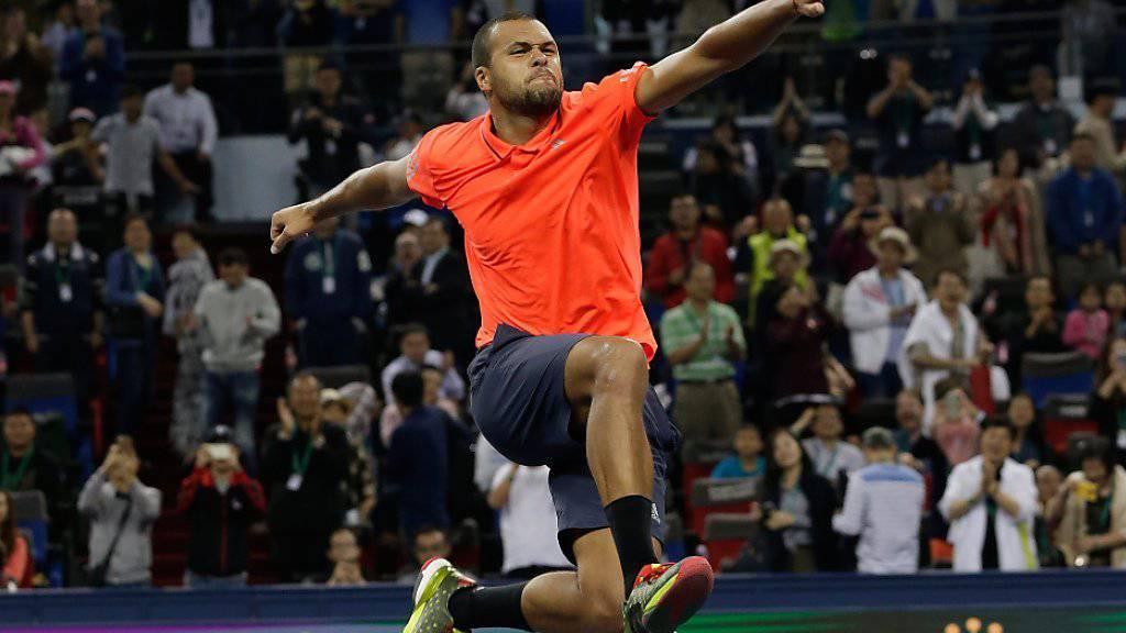Jo-Wilfried Tsonga jubelt nach seinem Sieg gegen Rafael Nadal ausgelassen.