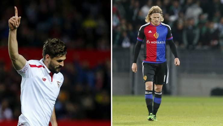 Der FC Basel trifft mit dem FC Sevilla auf einen der schwersten Gegner (im Bild Stürmer Fernando Llorente) und muss auch noch den Ausfall von Birkir Bjarnason (Bild rechts) hinnehmen.