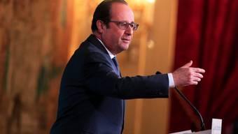 Frankreichs Staatspräsident François Hollande im Elysée-Palast während seiner einer Ansprache vor den Botschaftern im Land