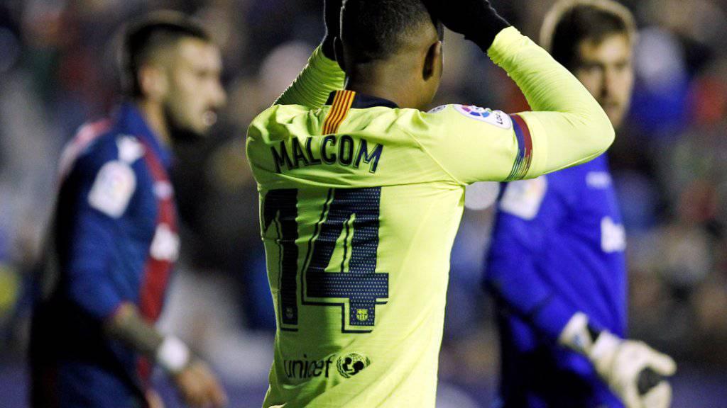Der FC Barcelona um Malcom tat sich gegen Levante sehr schwer