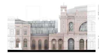 Im Südtrakt des Zürcher Hauptbahnhofs wird ein markanter zweigeschossiger Glaskubus eingebaut - aus dem gleichen Glas wie die Fenster der Wannerhalle.
