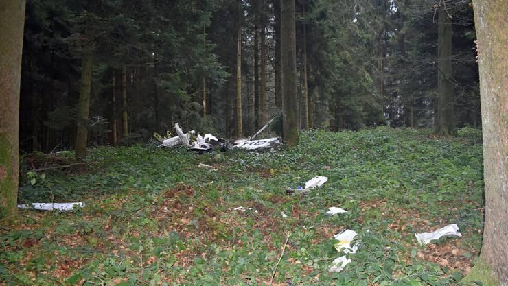 Teile der Unglücksmaschine liegen verstreut im Rüediwald.