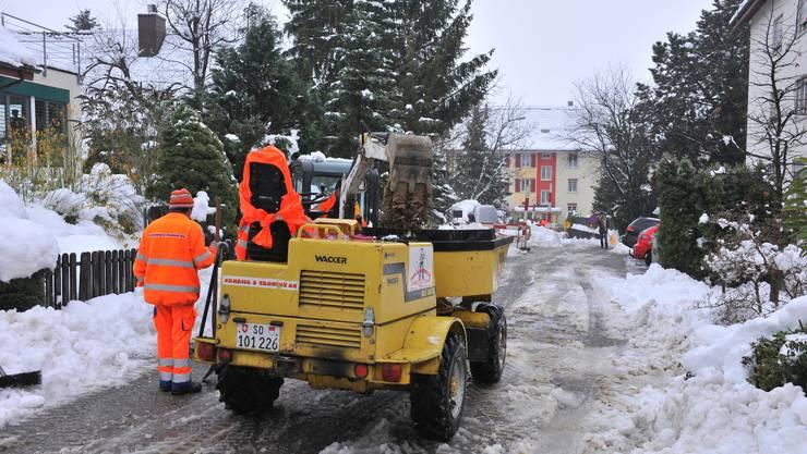 Die Arbeiten der SWG am Burgunderweg schreiten bei widrigen Wetterverhältnissen nun zügig voran. Foto: om
