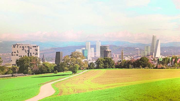 Ein weiterer Hochhaus-Cluster: «Rosental Mitte» (hier hinter Messe- und Baloise-Turm) könnte in wenigen Jahrzehnten die Stadtsilhouette ebenso prägen wie der Roche-Campus. (Herzog & de Meuron)