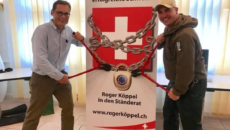 Roger Bleuler nahm sich die Freiheit mit seinem Namensvetter Roger auf die Foto zu gehen und so die Ketten des Unterwerfungsvertrags zu sprengen.