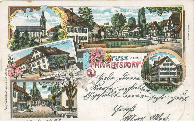 Druckfehler gab es auch schon 1903, wie diese Postkarte aus Sarmenstorf (oder eben fälschlicherweise Sarmensdorf) belegt. Sie ging an eine Adresse in Goldau.
