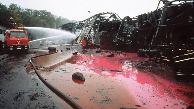 Bei der Umweltkatastrophe der Schweizerhalle brannte diese Halle der Firma Sandoz ab, die 1350 Tonnen Chemikalien lagerte.Keystone/Michael Kupferschmidt
