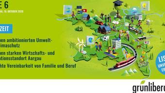 Mit diesem Plakat – mit ihren Positionen – ziehen die Grünliberalen Aargau in den Wahlkampf.