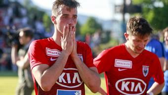 Raoul Giger und seine Teamkollegen schafften in der Barrage 2018/19 den Aufstieg in die Super League nicht, der FC Aarau schreibt erstmals nach sechs Jahren rote Zahlen.