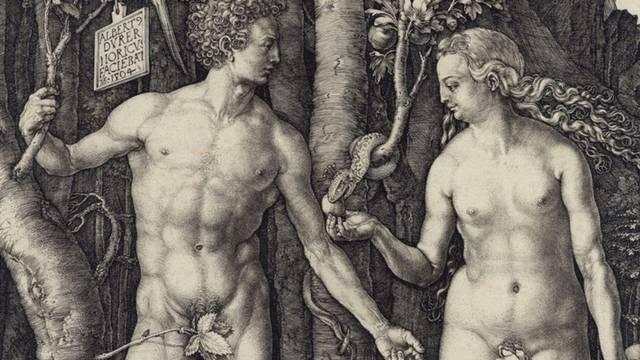 """Teil der Druckgraphik """"Adam und Eva"""" von Albrecht Dürer."""