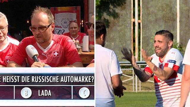 Russland-Quiz mit Schweizer Fans / Journalisten gegen Stadionmitarbeiter
