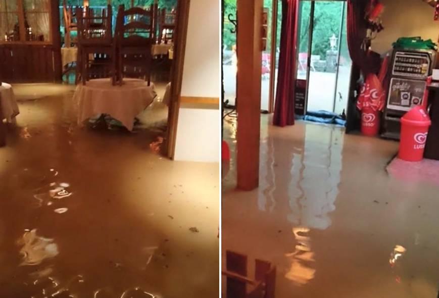 Restaurant Einsiedelei wird von Unwetter geflutet