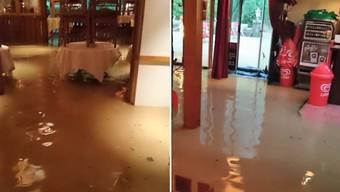 Ausgerechnet am 37-Jahre-Jubliäum seines Restaurants Einsiedelei wurde das Lokal von Franz Aerni vom vielen Regen geflutet.