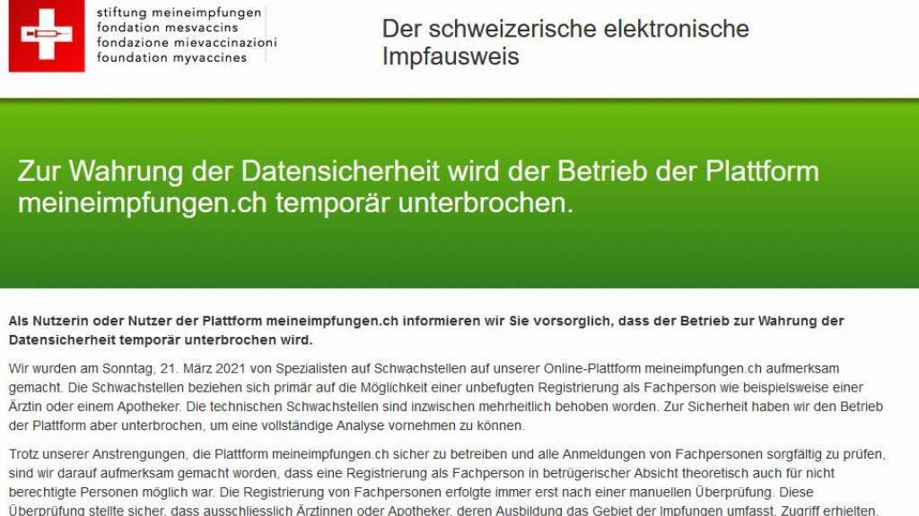 Plattform «meineimpfungen.ch» wird eingestellt