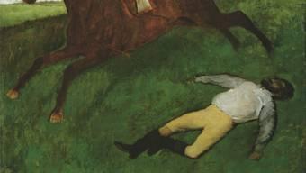 Edgar Degas: «Jockey blessé», um 1896/1898, Öl auf Leinwand, 180.6 x 150.9 cm.