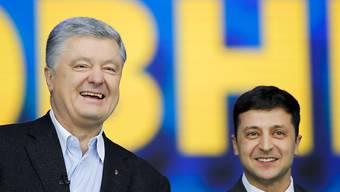 Vor der Stichwahl um das Präsidentenamt in der Ukraine haben sich die Kandidaten, Amtsinhaber Poroschenko und der Komiker Selenskyj, im Olympiastadion eine hitzige Debatte geliefert.