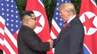 In Singapur sind am Dienstag Nordkoreas Machthaber Kim Jong-un und US-Präsident Donald Trump aufeinander getroffen.
