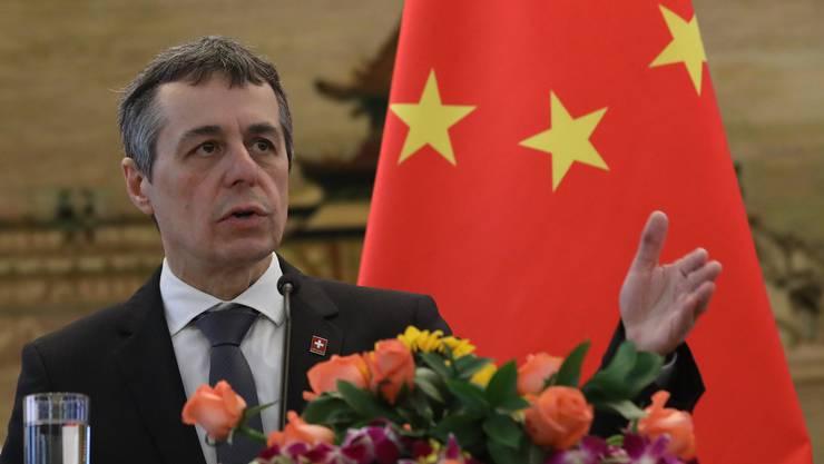 Laut Aussenminister Ignazio Cassis muss die Schweiz ihre Interessen gegenüber China «robuster» vertreten.
