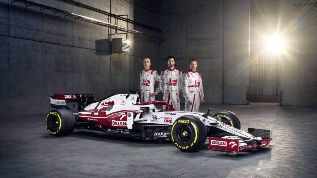 Der neue C41 und seine Piloten Kimi Räikkönen, Antonio Giovinazzi und Robert Kubica (von rechts)