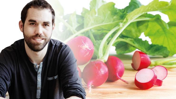 Warum wegwerfen? Aus Radieschenblättern lässt sich ein köstlicher Salat zubereiten. Pascal Haag ist Meister des Resteverwertens.