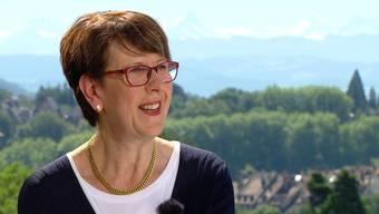 Ausschnitt aus der Sendung «Sommer-Talk»: Post-Konzernleiterin Susanne Ruoff spricht über den Strukturwandel in ihrem Unternehmen.